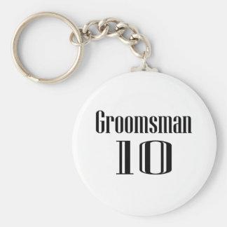 Groomsman 10 basic round button key ring