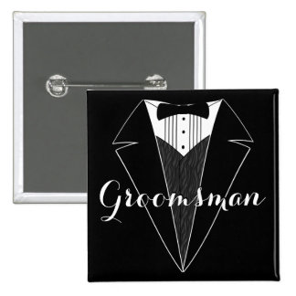 Groomsman Black and White Tux Wedding Party Button
