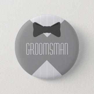 Groomsman Bowtie & Stripes 6 Cm Round Badge