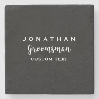 Groomsman Custom Wedding Favor Modern Monogram Stone Coaster