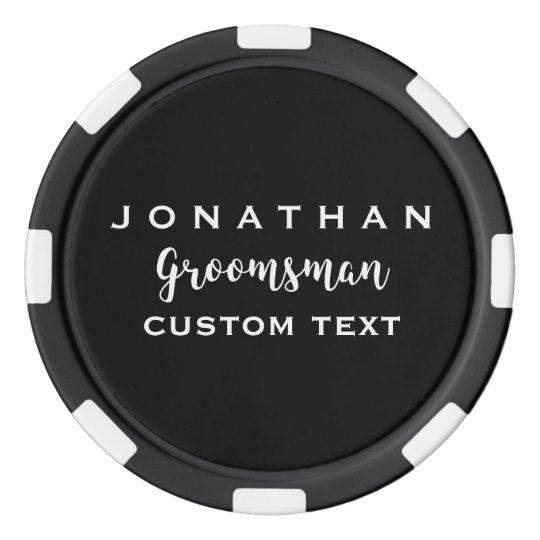 Groomsman Custom Wedding Favour Modern Monogram Poker Chips