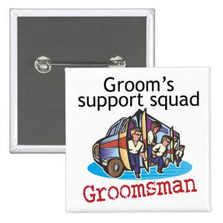 Groomsman Groom's Squad 15 Cm Square Badge