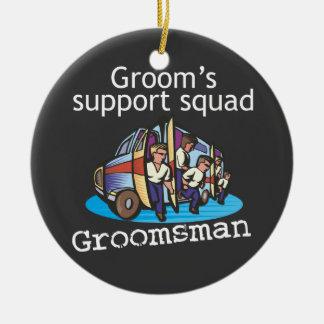 Groomsman Groom's Squad Round Ceramic Decoration