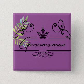 groomsman in plum 15 cm square badge