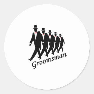 Groomsman (Men) Round Sticker