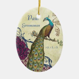 Groomsman Navy & Raspberry Vintage Peacock Christmas Ornament