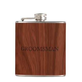 Groomsman Rustic Wedding | Woodgrain Flask