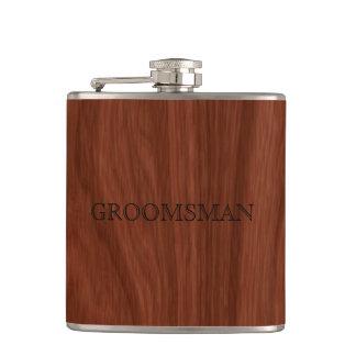 Groomsman Rustic Wedding | Woodgrain Hip Flask