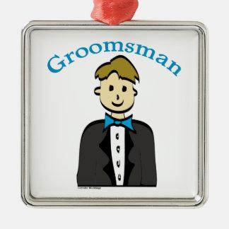 Groomsman Silver-Colored Square Decoration