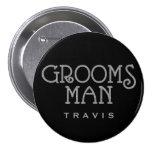 Groomsman Silver Faux Glitter Name Tag Button
