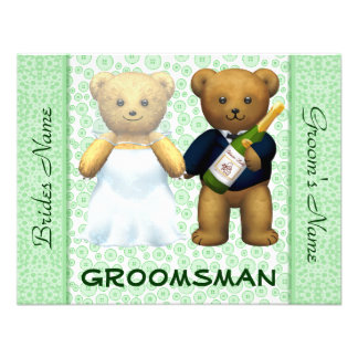 Groomsman - Teddy Bears Apple Green Wedding Invite