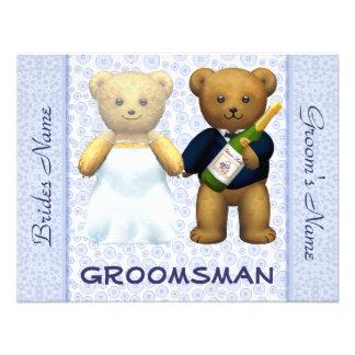 Groomsman - Teddy Bears Blue Wedding Invite