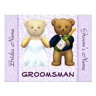 Groomsman - Teddy Bears lilac Wedding Invite