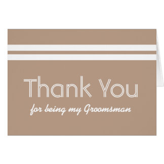 GROOMSMAN White Stripes Wedding THANK YOU A04 Card