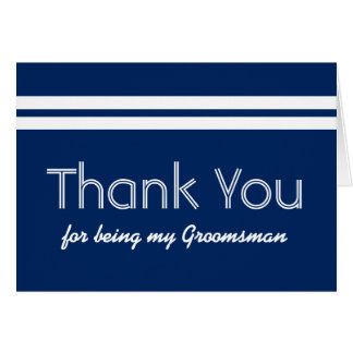 GROOMSMAN White Stripes Wedding THANK YOU Card