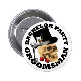 Groomsmans Gothic gambling skull bachelor party 6 Cm Round Badge
