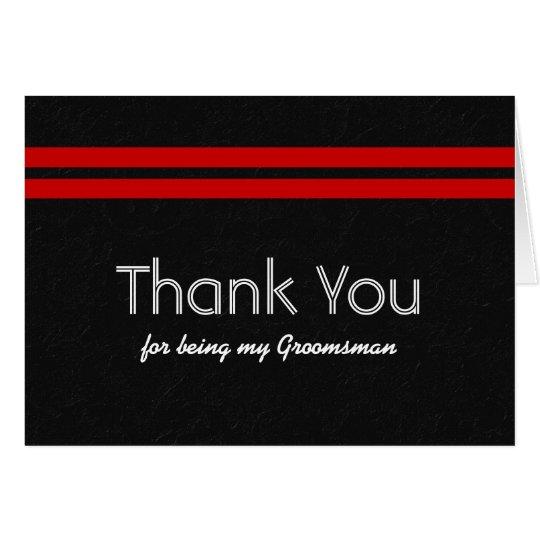 GROOMSMEN Bold Red Stripe Wedding THANK YOU R321 Card