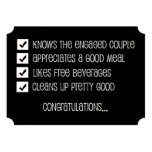 Groomsmen Funny Checklist 13 Cm X 18 Cm Invitation Card