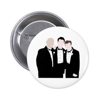 Groomsmen in Black Tie Pose for a Picture 6 Cm Round Badge