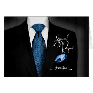 Groomsmen Request Tuxedo with Blue Tie Greeting Card
