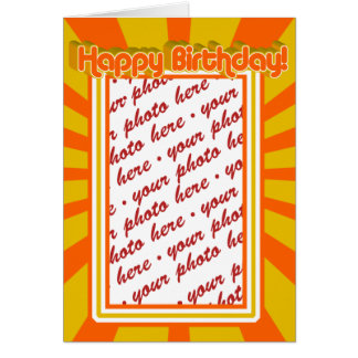 Groovy 1970's Retro Birthday  Photo Frame Card