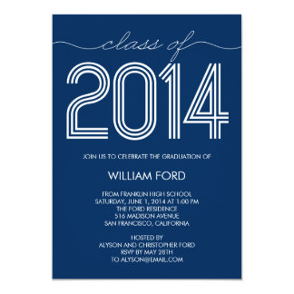 Groovy 2014 Graduation Invitation - Navy Personalized Announcement