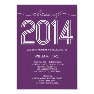 "Groovy 2014 Graduation Invitation - Purple 5"" X 7"" Invitation Card"