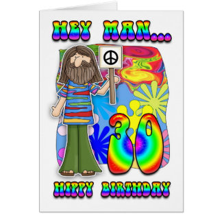 Groovy 30th Birthday - Hippy Birthday Card
