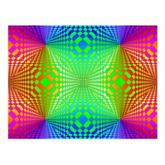 Groovy 3-D Retro Pattern Post Card