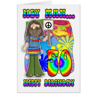 Groovy 50th Birthday - Hippy Birthday Card
