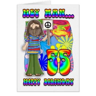 Groovy 55th Birthday - Hippy Birthday Card