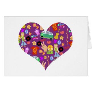 Groovy 60 s Purple Love Greeting Card
