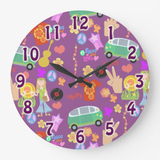 Groovy 60 s Purple Love Pattern Round Wallclock