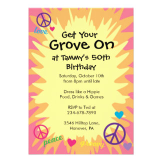 Groovy 60 s theme party invitations