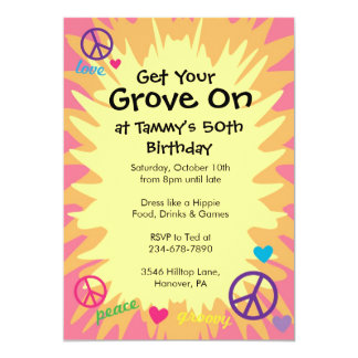 Groovy 60's theme party invitations