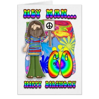 Groovy 60th Birthday - Hippy Birthday Greeting Card