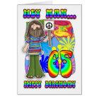 Groovy 65th Birthday - Hippy Birthday Card