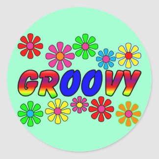 Groovy 70 s Retro Flower Power Gifts Round Stickers