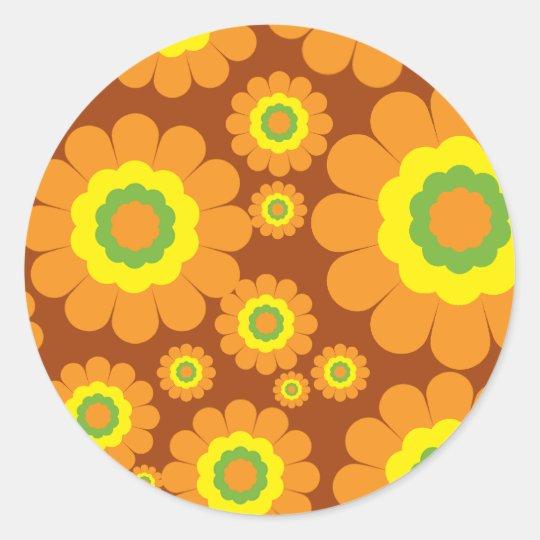 Groovy 70's Flowers Classic Round Sticker