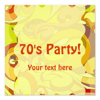 "Groovy 70s Stationary 5.25"" Square Invitation Card"