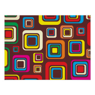 Groovy 70s Tile Pattern Squares On Brown Poster