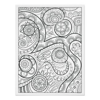 Groovy Abstract Coloring Poster - Colorable Poster