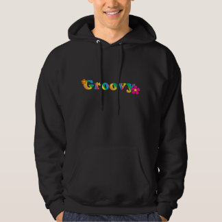 Groovy and Flowers Bright Colors 60s Hippie Design Hoodie