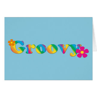 Groovy and Flowers Bright Colors 60s Hippie Design Note Card