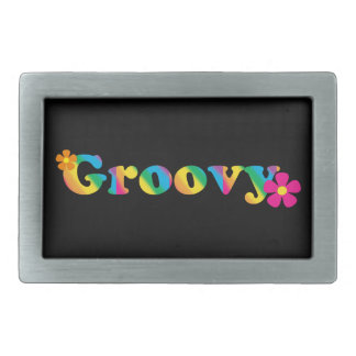 Groovy and Flowers Bright Colors 60s Hippie Design Rectangular Belt Buckle