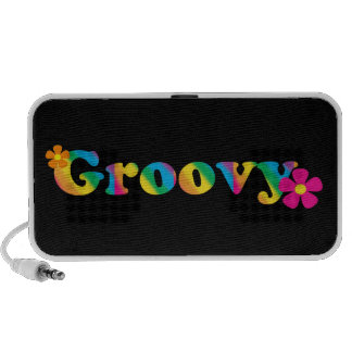 Groovy and Flowers Bright Colors 60s Hippie Design Speakers