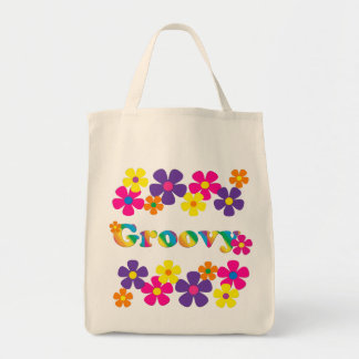 Groovy and Flowers Bright Colors 60s Hippie Design Grocery Tote Bag