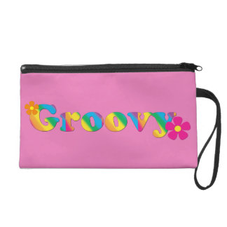 Groovy and Flowers Bright Colors 60s Hippie Design Wristlet Purses