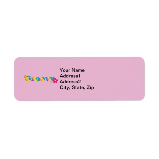 Groovy and Flowers Bright Colours 60s Hippie Return Address Label