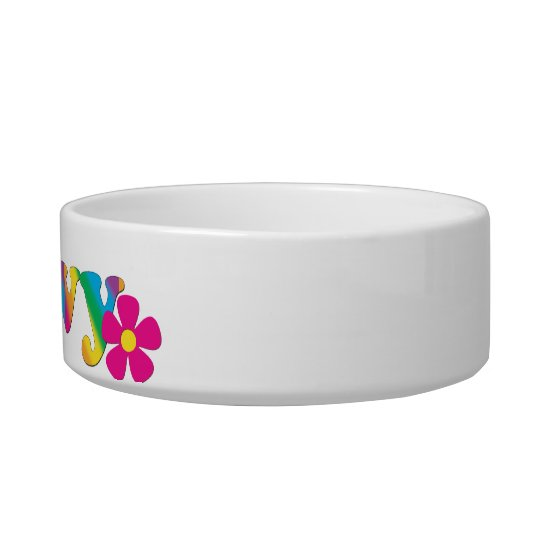 Groovy and Flowers Rainbow Colours Cat Bowl